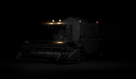 Modern combine with headlights on black background. 3d render Foto de archivo