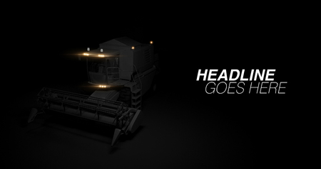 Modern combine with headlights on black background. 3d render