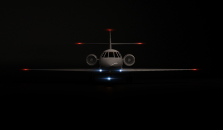 Luxury Generic Design Private Jet plane parking on black background. 3d render