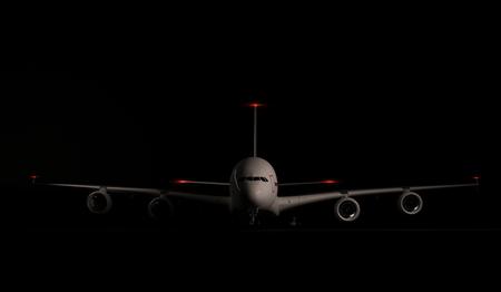 large passenger plane airbus parked on black background. 3d render