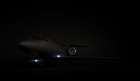 Lusso design generico jet privato parcheggio su sfondo nero. rendering 3d Archivio Fotografico