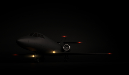 Luxury Generic Design Private Jet plane parking on black background. 3d render