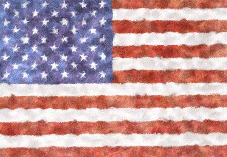 Tappeto peloso con texture bandiera USA, isolato su sfondo bianco. Elemento interno. rendering 3d