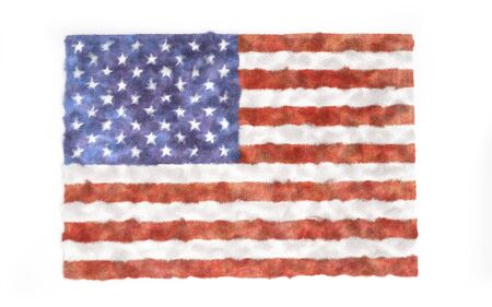 Furry carpet with USA flag texture, isolated on white background. Interior element. 3d render