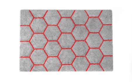Furry carpet with honeycomb texture, isolated on white background. Interior element. 3d render Stock fotó