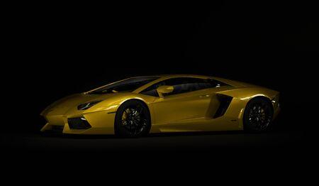 Almaty, Kazakhstan. Juli 08: Lamborghini Aventador. luxury stylish sport car on dark, black background. 3D render