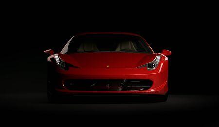 Almaty, Kazakhstan. Juli 25, 2019: Ferrari 458 Italia Pininfarina. luxury stylish supercar on dark background. 3D render