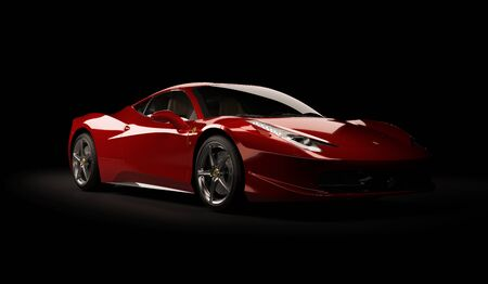 Almaty, Kazakhstan. Juli 25, 2019: Ferrari 458 Italia Pininfarina. luxury stylish supercar on dark background. 3D render Redakční