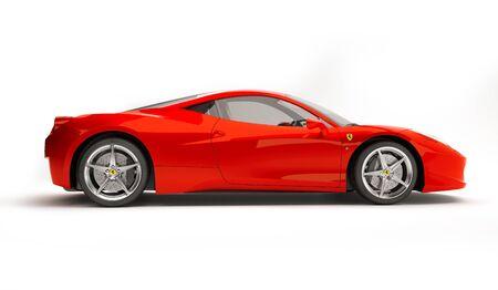 Almaty, Kazakhstan. Juli 25, 2019: Ferrari 458 Italia Pininfarina. luxury stylish supercar Isolated on white background. 3D render