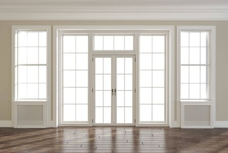 Empty room with wooden floor and large windows and doors, 3d render