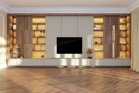 TV unit in living room interior with black TV on the wall. Illuminated shelves. 3d render