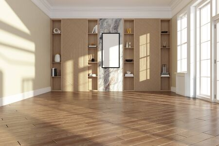 Empty room interior with wooden floor and modern wall shelves decoration. 3d render