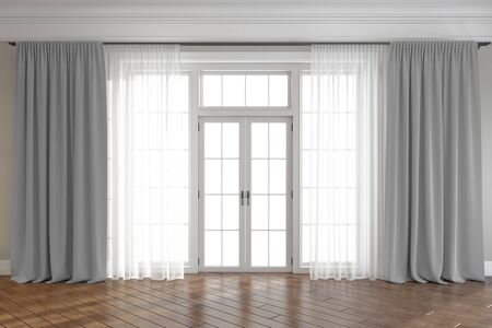 Empty room with window and curtains. 3d render