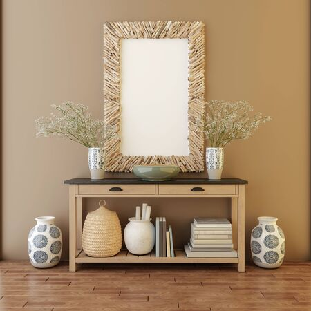 Mockup of blank frame poster on the floor. 3d render