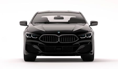 Kazakhstan, Almaty - February 02, 2020: All-new BMW 8 Series Coupe isolated on white background. 3d render