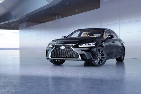 Almaty, Kazakhstan - February 20, 2019: The 2019 Lexus ES 350 F SPORT on futuristic background. Luxury sedan in modern studio light. 3d render