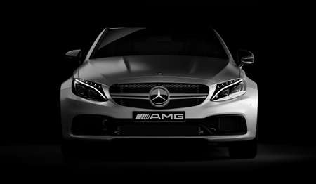 Almaty, Kazakhstan - March 05, 2020: MERCEDES C63S AMG Luxury Sports Coupe on black background. 3d render Editorial