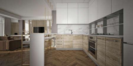 Modern kitchen contemporary design. 3d render