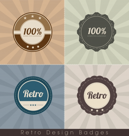 Retro Badges with Authentic Background Vector