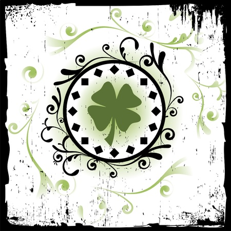 goodluck: Clover in Grungy and Decorative Environment Illustration