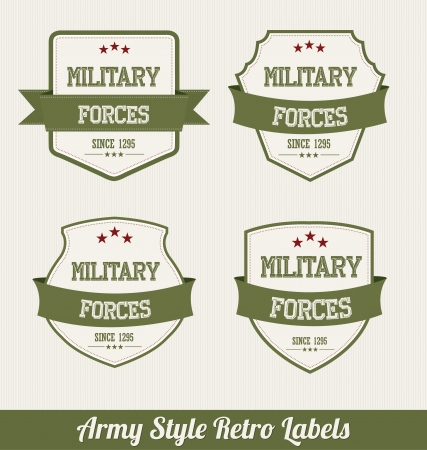 Army Style Retro Labels Vector