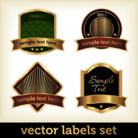 Label Set with Golden Elements Vector