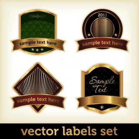 Label Set with Golden Elements Vector