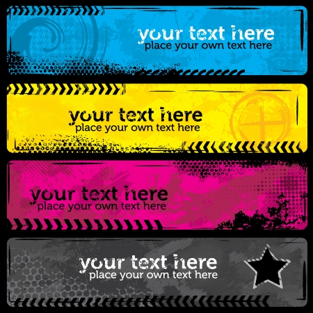 cmyk abstract: CMYK Grunge Banners