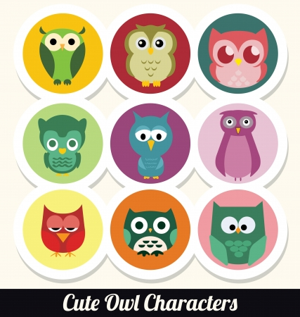 lighthearted: Colorful Retro Owl Character Set