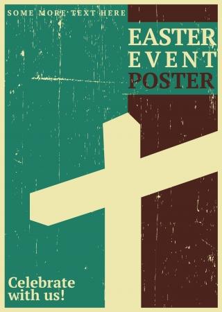 grunge cross: Evento di Pasqua Poster Vettoriali