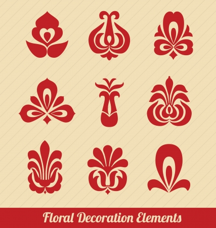 Floral Decoration Elements - Red Vector