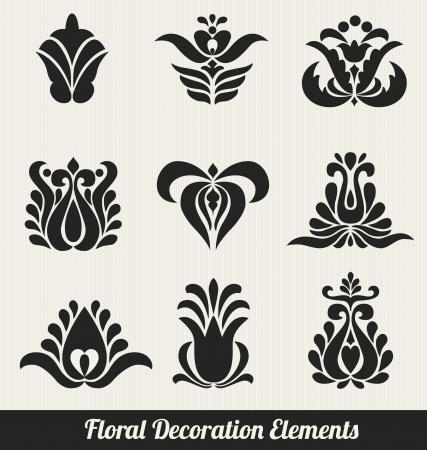 stile liberty: Elementi di decorazione floreale - fiori stilizzati Vettoriali
