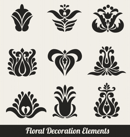 Floral Decoration Elements - Stylized Flowers Vector