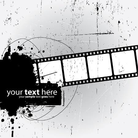 ink splash: Grunge Design with film strip