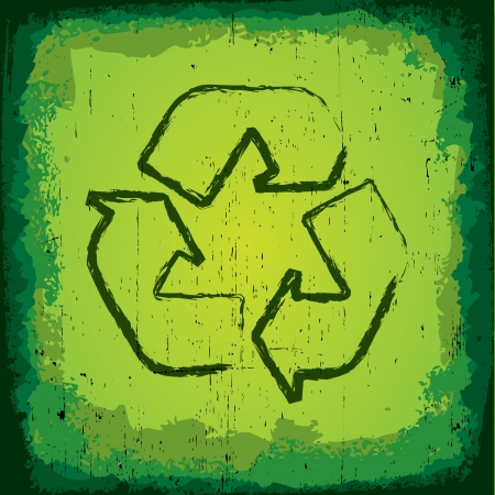Grungy Recycle Symbol Stock Vector - 14557952