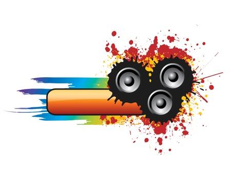 Música y colorido sucio Banner Ilustración de vector