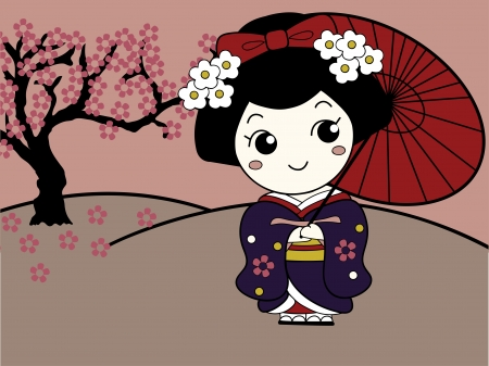 japanese kimono: Cute Asian Girl Character Illustration