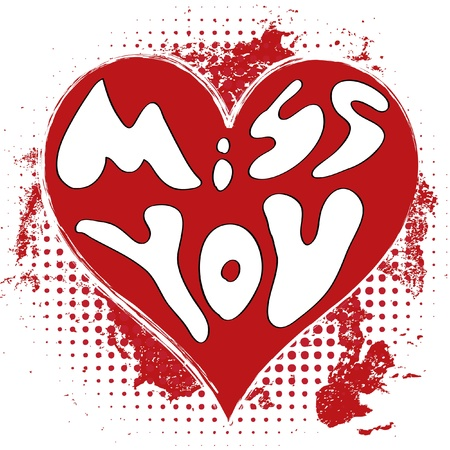 Cuore Grungy - Miss You Vettoriali