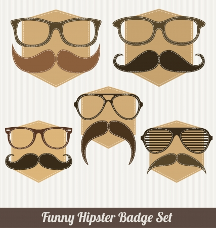 Funny Hipster Badge Set - Characters with Mustache Vector