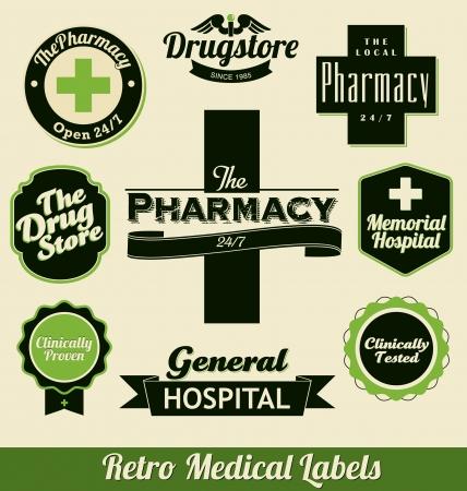 clinically: Retro Etichette medici Vettoriali