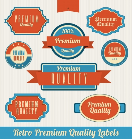 premium quality: Retro premium Quality Labels Illustration