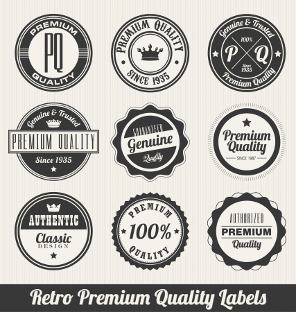 Retro Premium Quality Labels - Monochrome version Vector