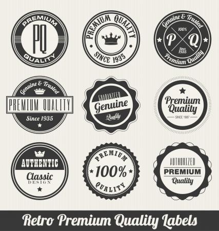 Retro Premium Quality Labels - Monochrome version