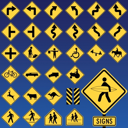 Danger Road Signs Collection Stock Vector - 14554982