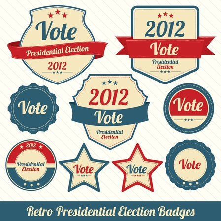 Retro Presidential Election Badges Illustration