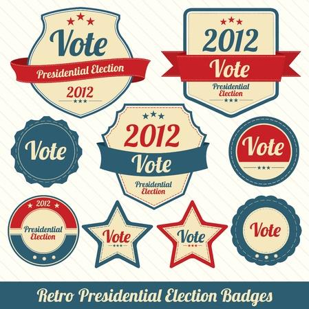Retro Presidential Election Badges Ilustracja