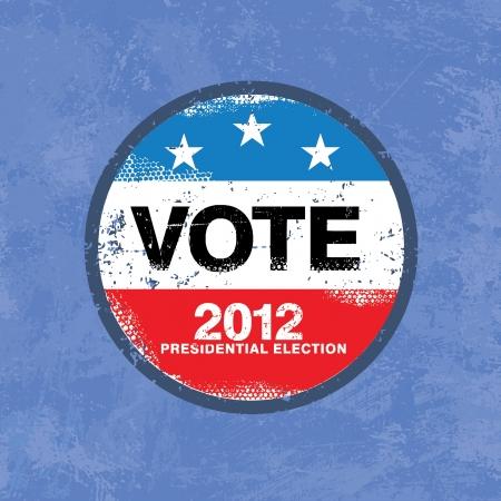 suffrage: Vote 2012 USA Badge - Worn retro grunge style