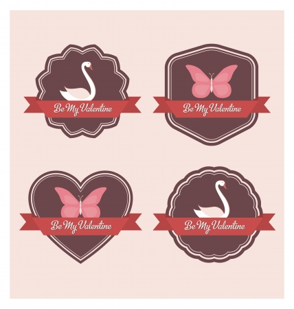 Valentines Day Labels - Retro Design Vector