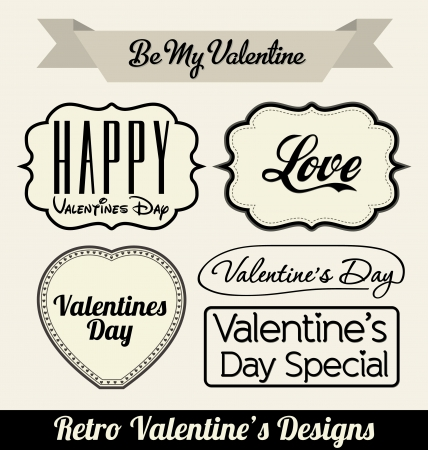 Typographic Retro Valentines Designs Stock Vector - 14546541