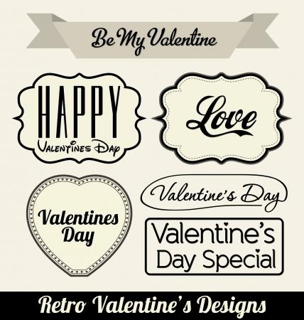 Typographic Retro Valentines Designs Stock Vector - 14546541